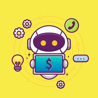Financial consultant with cute robot