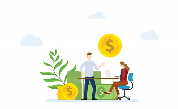 Financial consultation concept with man and woman female discussion about financial money with modern flat style