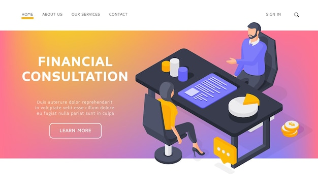 Financial consultation landing page banner template. woman sitting on chair and receiving money management advice from man. isometric  illustration