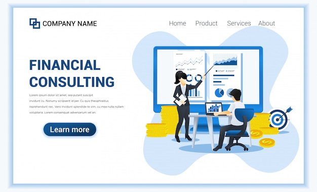 Financial consulting concept. consultant presenting data and report financial on screen. flat illustration