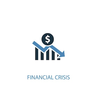 Financial crisis concept 2 colored icon. simple blue element illustration. financial crisis concept symbol design. can be used for web and mobile ui/ux