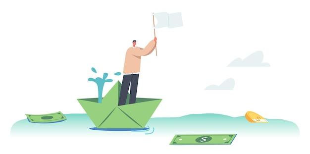Концепция финансового кризиса. обанкротившийся бизнесмен стоит на тонущем бумажном корабле, размахивая белым флагом в море с разбросом долларовых купюр и монет. векторные иллюстрации шаржа