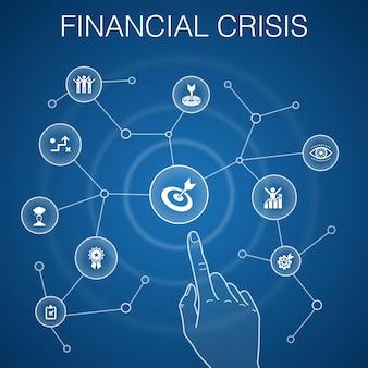 金融危機の概念、青い背景。財政赤字、不良債権、政府債務、借り換えアイコン