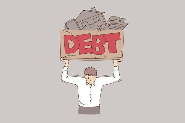 Financial crisis and debt concept