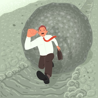 Financial crisis or debt threat concept. a frightened businessman runs away from a boulder rolling down the mountain. metaphor.  illustration in cartoon style