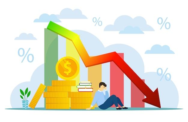 金融危機グラフ。広告、プレゼンテーション、パンフレット、ブログ、ドキュメント、フォームなどで使用するためのアイコンスタイルのイラスト。実業家破産後退損失ビジネスコンセプト