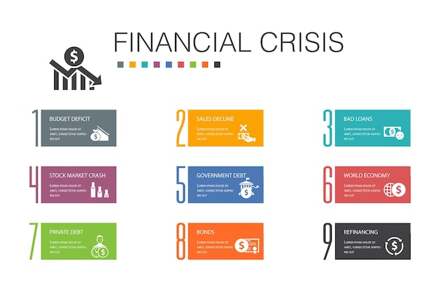 Financial crisis infographic 10 option line concept.budget deficit, bad loans, government debt, refinancing simple icons