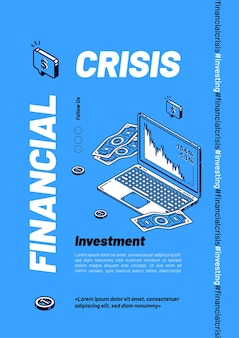 Financial crisis isometric banner template, sales drop