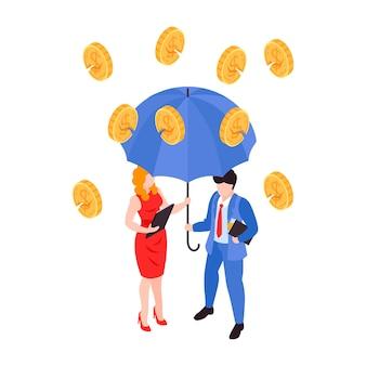 Financial crisis isometric concept with cracked coins falling on businessmen under umbrella 3d