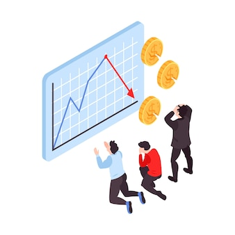 Financial crisis isometric illustration with frustrated people watching stock market crash graph