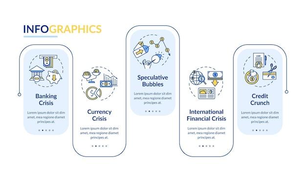 금융 위기 벡터 infographic 템플릿입니다. 경제 비상 사태 프레젠테이션 디자인 요소입니다. 5단계로 데이터 시각화. 프로세스 타임라인 차트. 선형 아이콘이 있는 워크플로 레이아웃