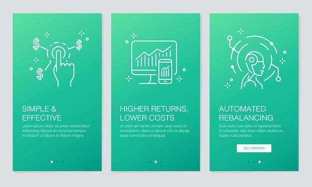 Financial and fintech onboarding app screens.