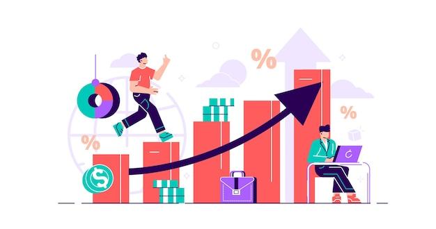 財務予測イラストフラット小さな経済的な人の概念