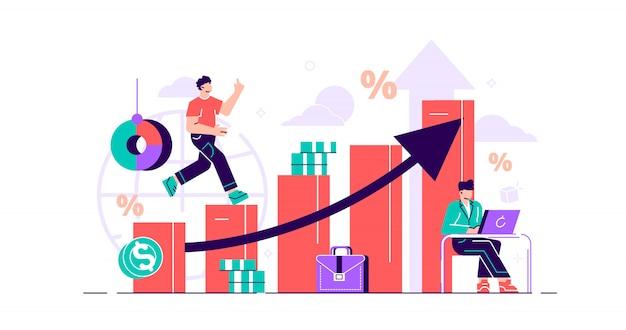 財務予測の図。小さな経済的な人の概念。お金の成長予測と進捗レポート。象徴的な会社の売上改善統計の計算と測定。