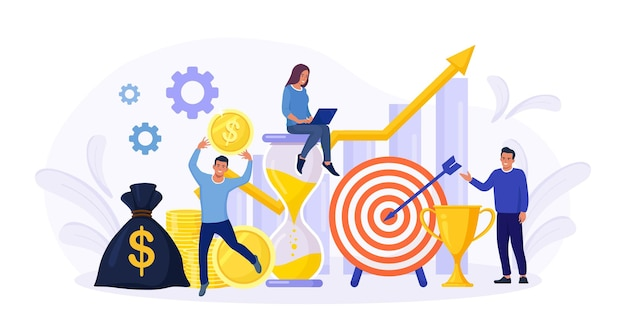Financial forecast. tiny economics persons, freelancer, employee or manager making investing plans. money growth prediction and progress report.  return on investment. income growth, profit earnings