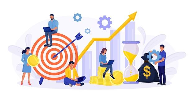 재무 예측. 작은 경제인, 프리랜서, 직원 또는 관리자가 투자 계획을 세우고 있습니다. 자금 성장 예측 및 진행 보고서. 투자 수익. 소득 증가, 이익 이익