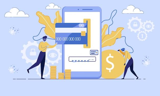 Financial fraudulent online flat  concept