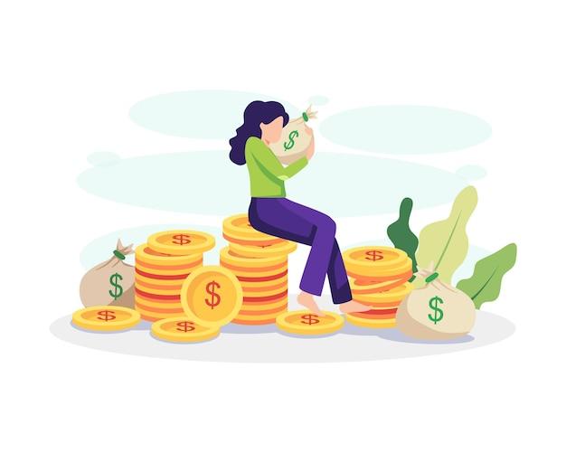 재정적 자유 개념 그림입니다. 돈 가방을 껴안고 동전 더미에 앉아 젊은 여자. 평면 스타일의 벡터
