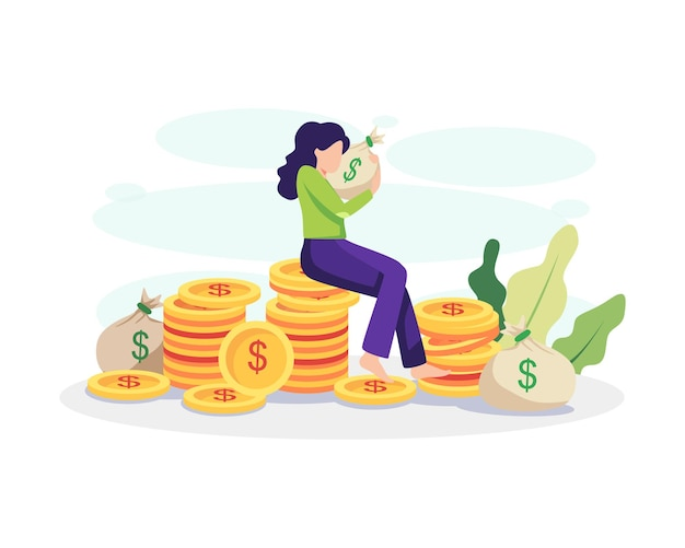 Financial freedom concept illustration. young woman hugging a bag of money and sitting on a pile of coins. vector in a flat style