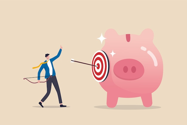 Financial goals, investment target, setting objective for retirement plan success concept
