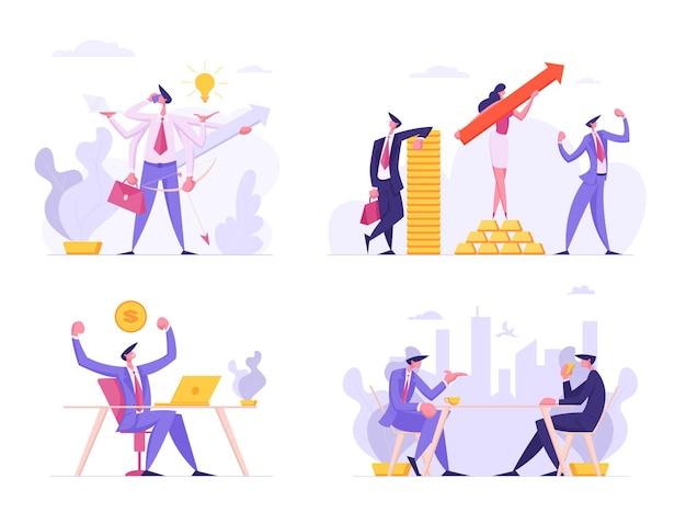 금융 성장, 비즈니스 성공 설정 평면 그림
