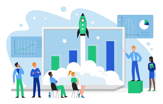 Financial growth concept illustration. cartoon flat business people team launch rocket spaceship into space, work on growing profit chart together, launching finance startup isolated
