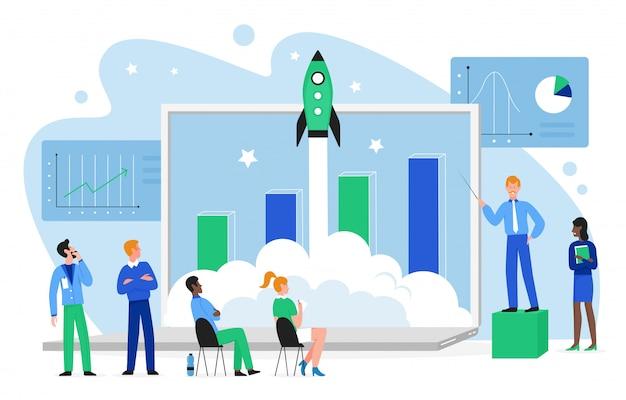 金融成長の概念図。漫画のフラットビジネス人チームがロケット宇宙船を宇宙に打ち上げ、一緒に成長する利益チャートに取り組み、分離された金融スタートアップを立ち上げる