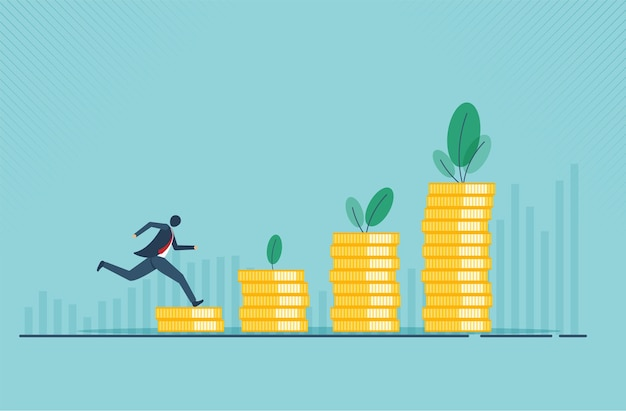 Концепция финансового роста с концепцией золотой монеты денежного сбора или стратегии прибыли