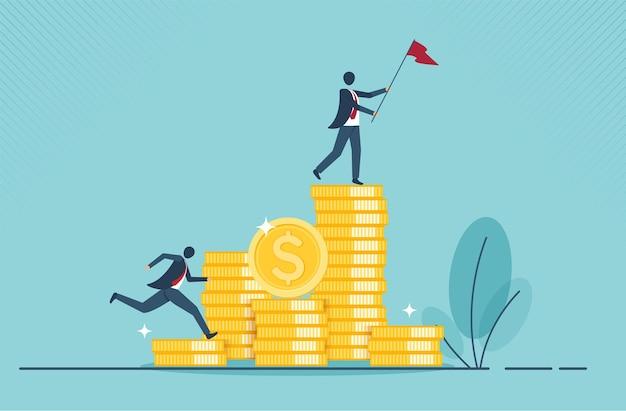 金銭の収集または利益の戦略のゴールデンコインの概念と金融成長の概念