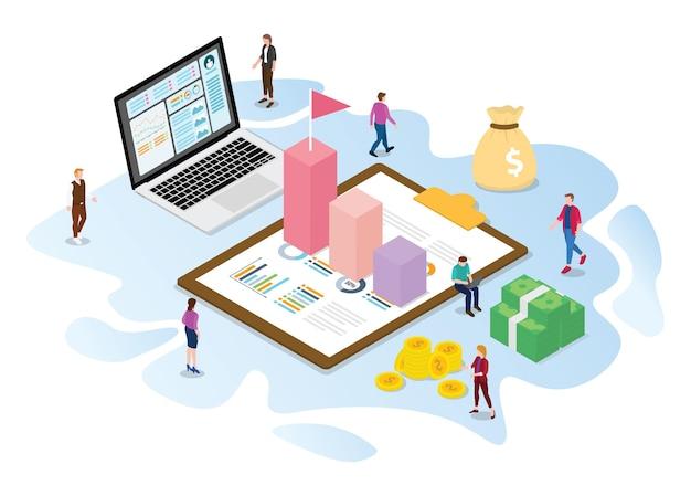 Концепция финансового роста с современной изометрической или 3d-стилем векторной иллюстрации