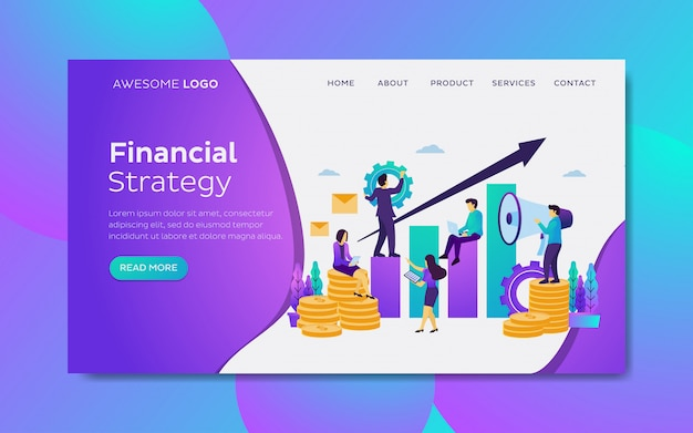 Financial growth development team landing page template