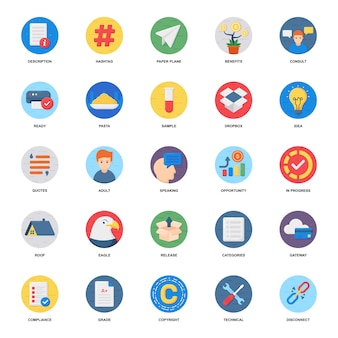 Financial growth flat icons pack