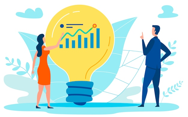 Financial growth plan flat illustration