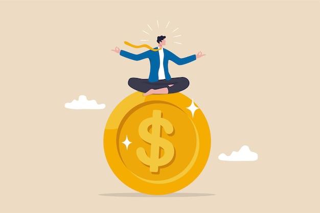 금융 전문가 또는 전문가, 자산 관리, 돈 및 투자 고문 개념에 대한 행동 금융 마음챙김, 똑똑한 사업가는 큰 금화 달러 동전에 명상을 하고 떠 있습니다.