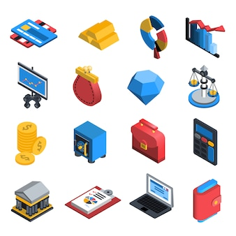Financial icons isometric