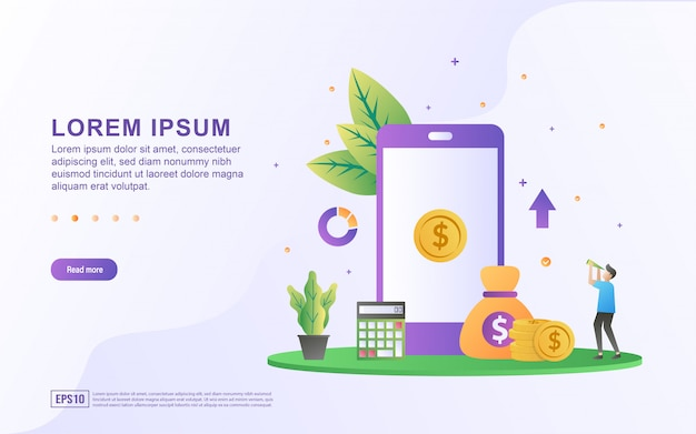 Financial illustration concept with people character