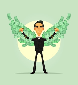 재정적 독립. 웃는 부자 캐릭터는 돈 날개를 가지고 있습니다.