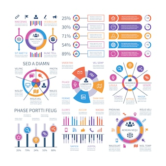 Financial infographic. business bar graph and flow chart, economic diagram circle charts with icons. presentation vector infographics