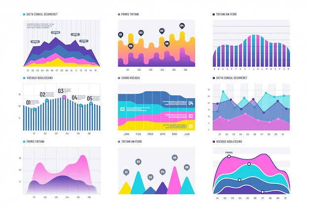 Financial infographic. business bar graph and line histogram, economic diagram and stock chart.