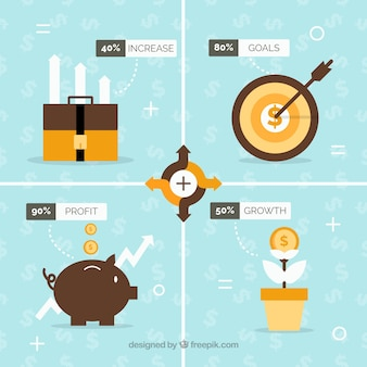 Financial infographic with four options in flat design