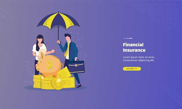 Financial insurance on flat illustration concept