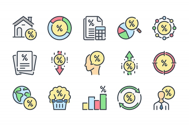 Financial interest related color line icon set.