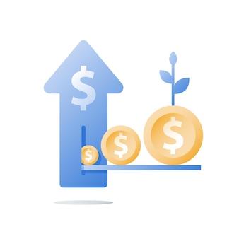 金融投資ファンド、収入の増加、収入の増加、予算計画の図