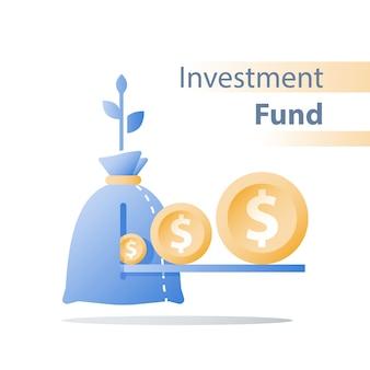 金融投資基金、収入の増加、収入の増加、予算計画、投資収益率、長期戦略、富の管理、より多くのお金、高金利、年金貯蓄、老齢年金の概念