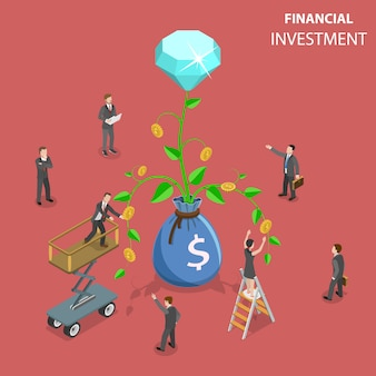 Financial investment flat isometric vector concept illustration.