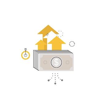 금융 투자, 미래 소득 증가, 수익 증가, 돈 반환, 예산 관리, 저축 예금, 모바일 및 웹 그래픽을위한 은행 평면 벡터 일러스트 디자인