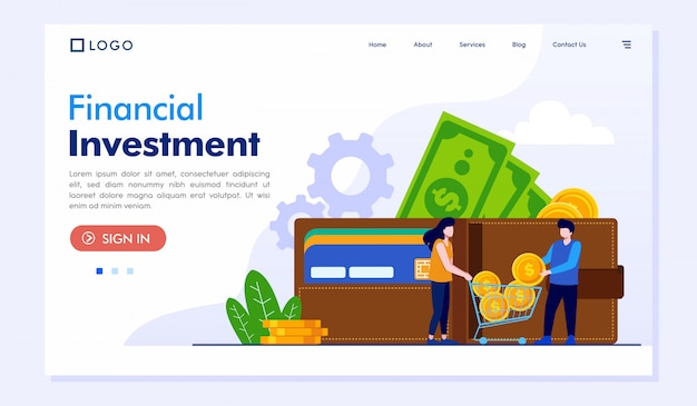 Financial investment landing page website vector template