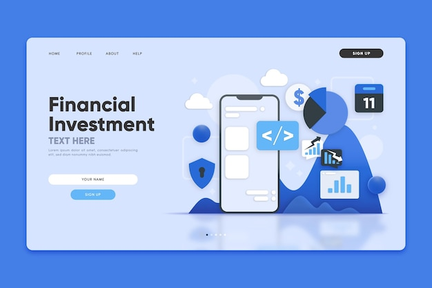 Financial investment landing page