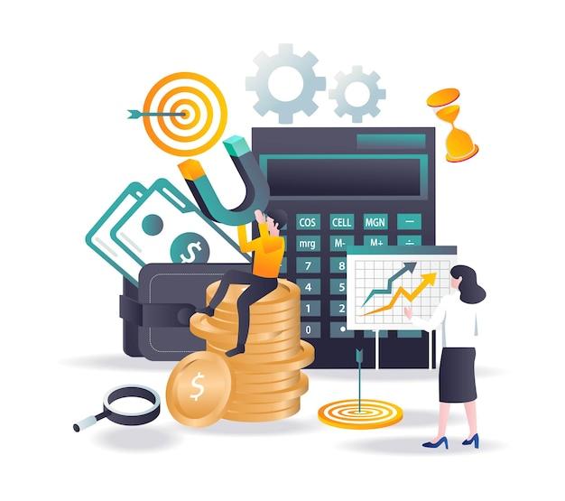 아이소메트릭 그림에서 금융 투자 자석