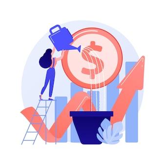 Investimento finanziario. analisi delle tendenze di mercato, investendo in aree redditizie, concentrandosi su progetti redditizi. illustrazione di concetto di progetto di affari di finanziamento della donna di affari